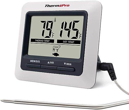 ThermoPro TP04 Termometro Cucina Digitale con Una Sonda e modalità Timer per Alimenti Carne Barbecue BBQ Forno Grigli...