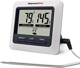 ThermoPro TP04 Termometro Cucina Digitale con Una Sonda e modalità Timer per Alimenti Carne Barbecue BBQ Forno Griglia Cibo