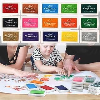 Tinta para Sello Tampónpomisty 15 Colores Lavable Almohadillas de Tinta Para Niños,Arco Iris Color de Huella Dactilare Almohadilla de Tinta Para Sello de Goma Socio Tarjeta y Niños DIY Scrapbooking