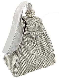 MDSQ Pyramid-shaped Diamond Ladies Handbags Evening Bags Wedding Party Girl Personality Fashion Creative Gifts 14 * 10 * 12cm Fashion personality (Color : Silver)