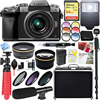 Panasonic LUMIX G7 Interchangeable Lens Mirrorless Digital Camera (Silver) with 14-42mm Lens Bundle with 64GB SDXC Memory Card, Microphone and Accessory (13 Items)