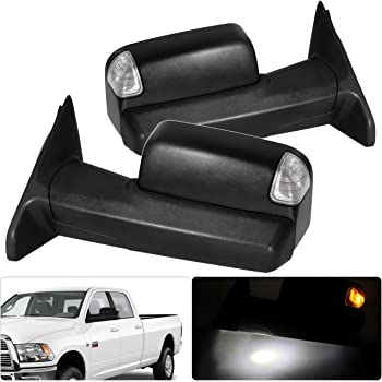 Aintier Tow Mirrors Fit for 2010 Dodge Ram 2500 3500 2011-2018 Ram 1500//2500//3500 Towing Mirrors with Left Side and Right Side Power Adjusted Heated LED Turn Signal Puddle Light Black Housing