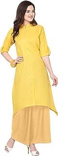 Florence Yellow Slub Cotton Embellished Stitched Kurtis with Palazzo(FL-KT-131-PZ-16)