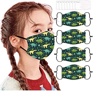 Fast Shipment 4PCS Children's Adjustable Face Màsc Reusable Washable Face Bandanas Breathable Comfortable Unisex Face Masks Funny Printing Mouth Covering +8PCS Gasket