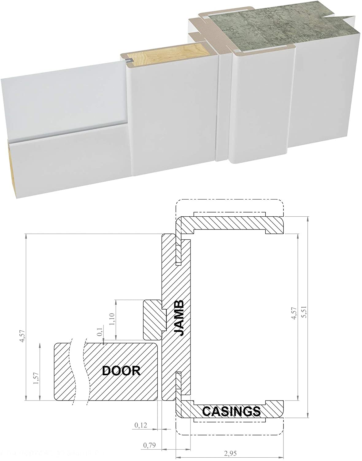 Wood Solid Panel Frame Trims Solid French Double Doors 56 x 80 inches Clear Glass 3 Lites Closet Bedroom Sturdy Doors Lucia 2555 Matte White
