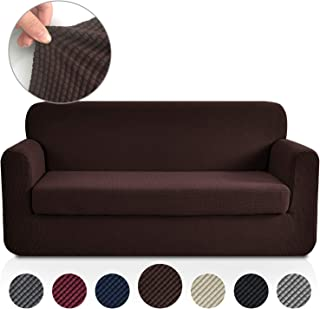 Rose Home Fashion Jacquard Stretch 2 Separate Pieces Sofa Cover, Sofa Slipcover with Separate Cushion Cover Couch-Polyester Spandex Sofa Slipcover&Couch Cover for Dogs(Sofa: Chocolate)