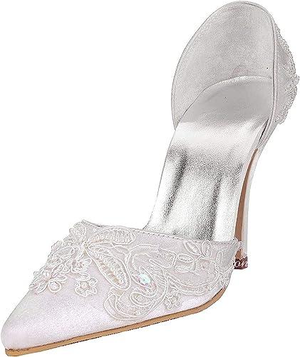 Qiusa MZ581 zapatos de Baile de Fiesta de Noche de Bodas de satén con Cuentas de tacón Alto para mujeres (Color   Style1-blanco-10cm Heel, tamaño   4 UK)