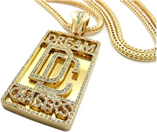 Shiny Jewelers USA Mens Dream Chaser ICED Out Hip HOP CZ Pendant Franco OR Cuban Chain Necklace Set