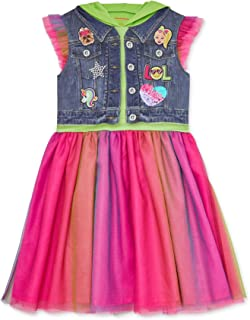 Girls Hooded Flutter Sleeve Costume Dress with Bow