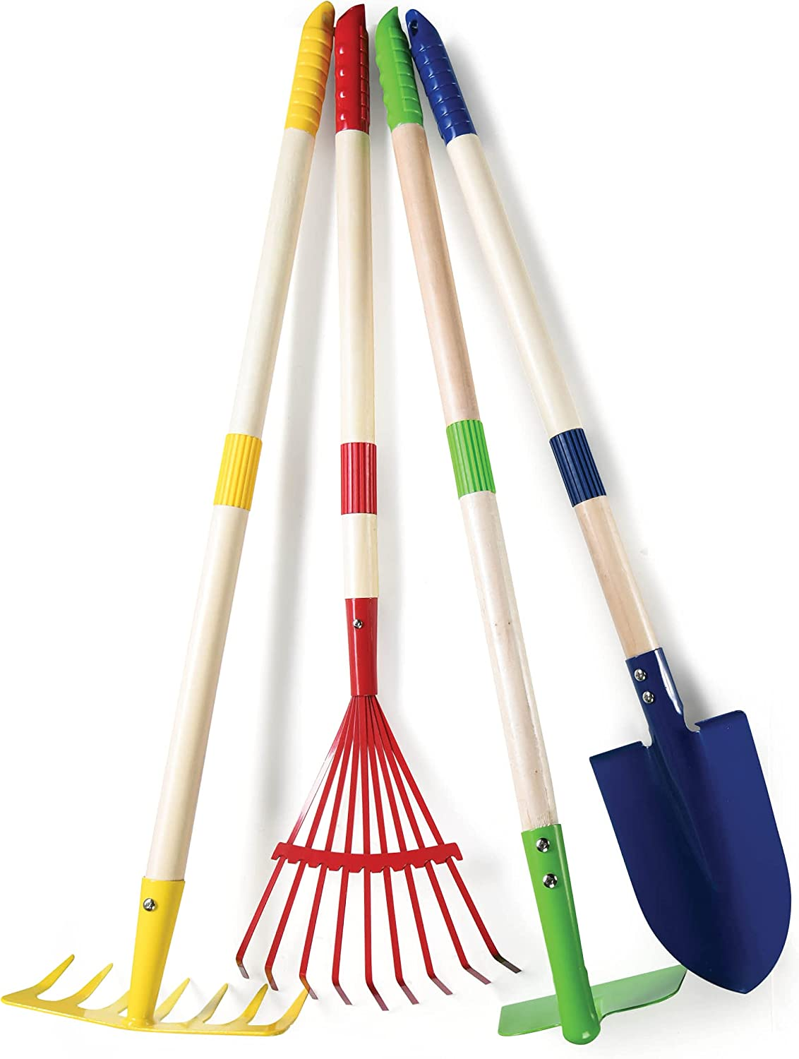 Play22 Kids Garden Tool Set Toy 4-Piece - Shovel, Rake, Hoe, Leaf Rake, Wooden Gardening Tools for Kids Best Outdoor Toys Gift for Boys and Girls : Toys & Games
