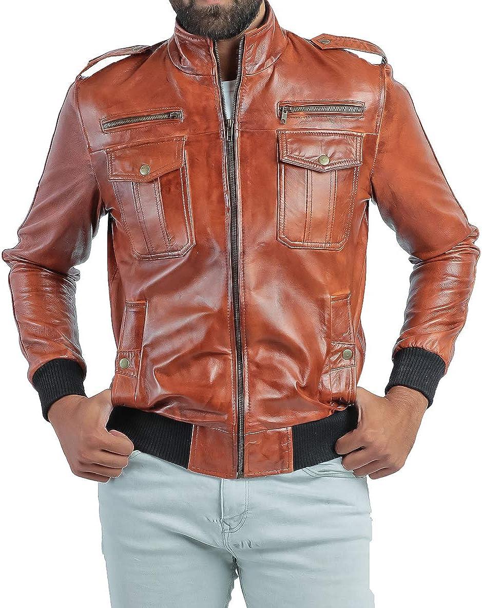LUPIN Men's Urban Genuine Lambskin Vintage Leather Jacket - Biker Leather Jacket for Men (XS to 3XL)
