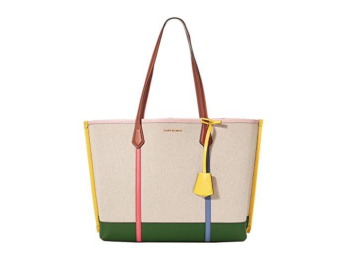 Tory Burch Perry Canvas Triple-Compartment Tote (Natural) Handbags