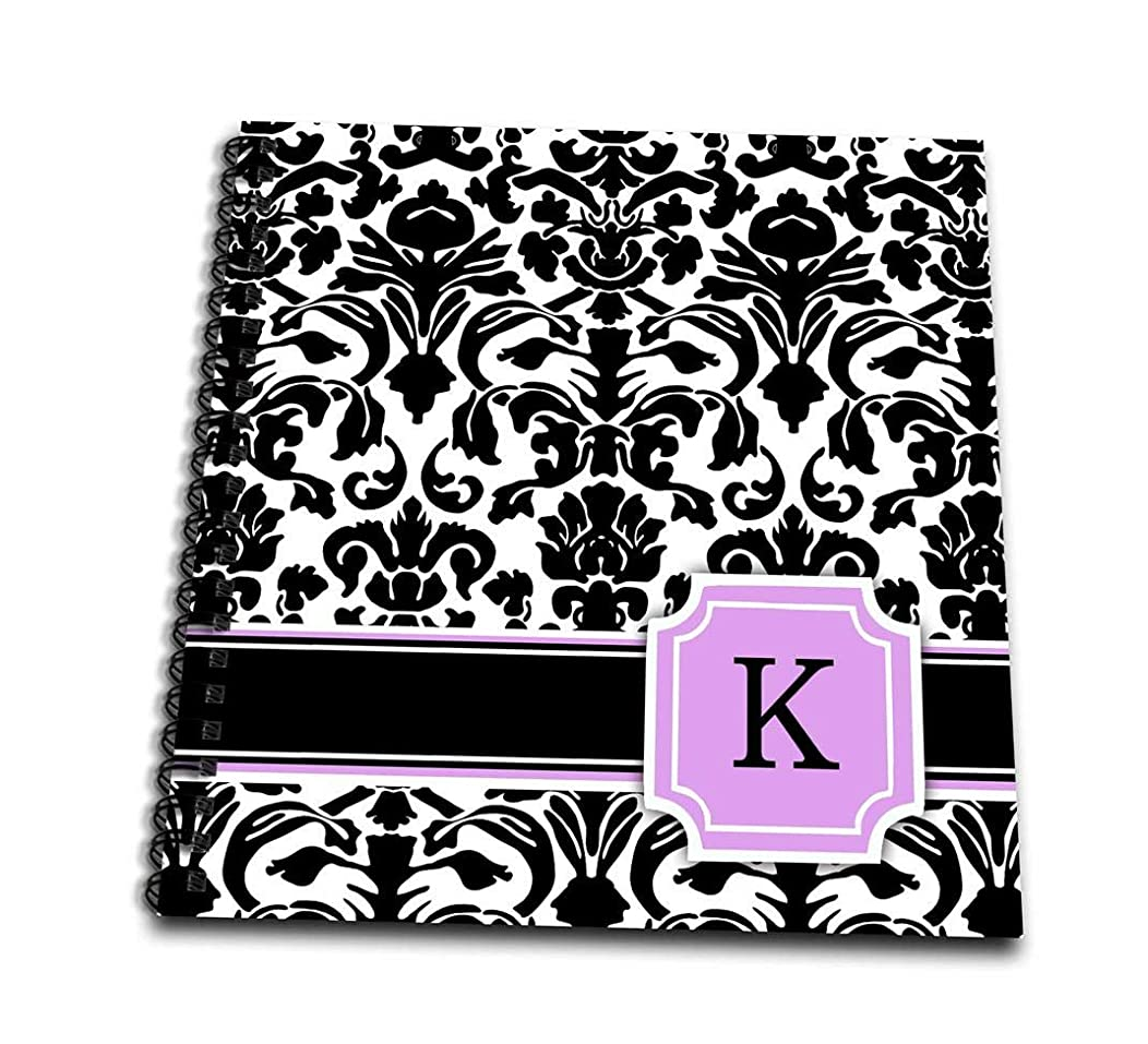 3dRose db_154386_1 Personal Initial K Monogrammed Pink Black and White Damask Pattern Girly Stylish Personalized Letter Drawing Book, 8