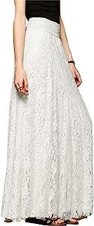 Tanming Women's Fashion High Waist A-Line Maxi Lace Long Skirts