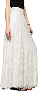 Women's Fashion High Waist A-Line Maxi Lace Long Skirts