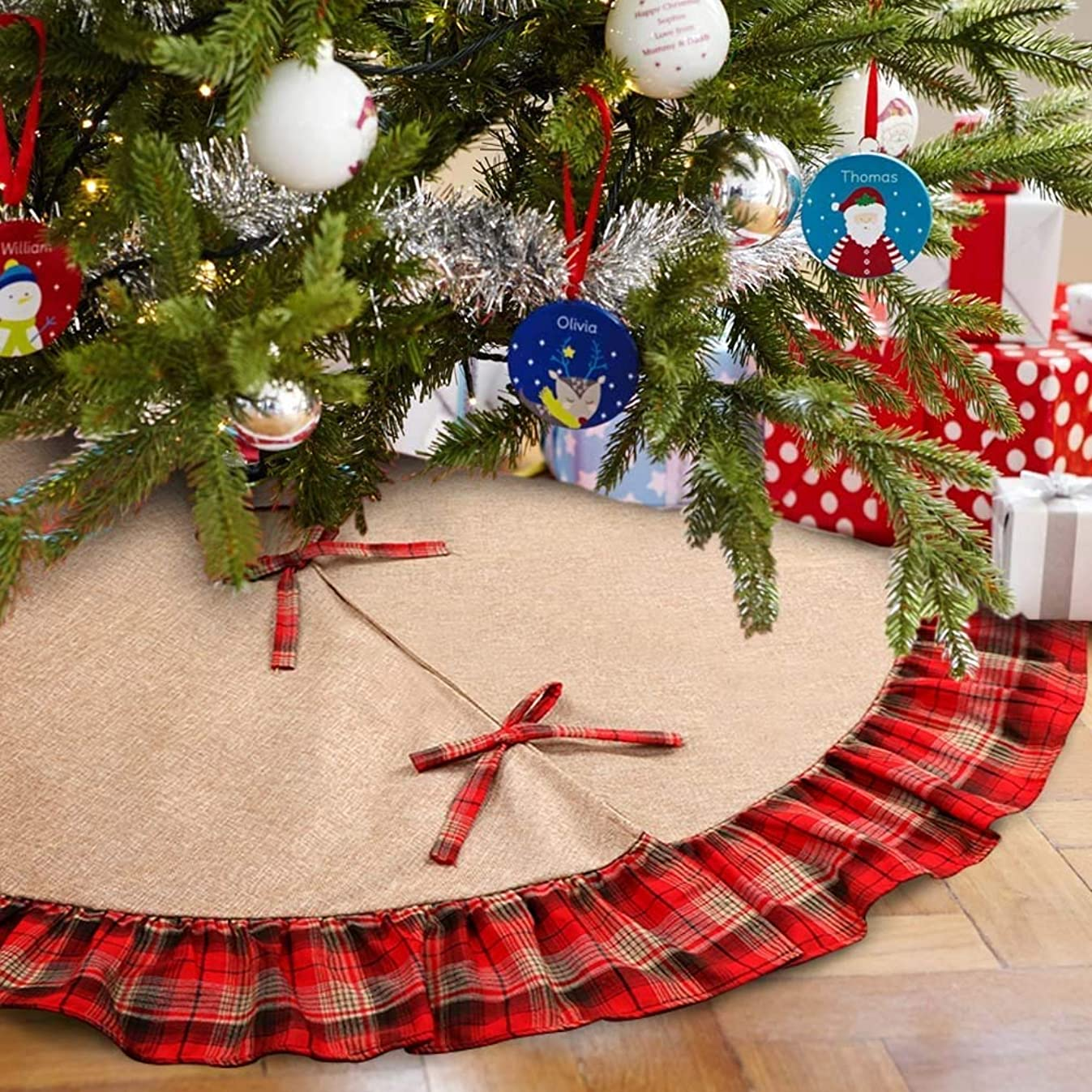 MeeQee 48 Inches Christmas Tree Skirt, Line Burlap Tree Skirt Plaid Ruffle Edge Border Large Round for Holiday Christmas Party Decorations, Line Burlap