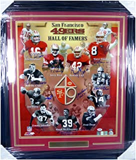 San Francisco 49ers Hall of Famers Autographed Signed Framed 20x24 Photo HOF With 11 Signatures Including Joe Montana, Jerry Rice, Steve Young, Lott & Tittle #/49 - PSA/DNA Authentic