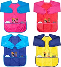 CUBACO 4 Pack Kids Art Smocks Children Waterproof Artist Painting Aprons with Long Sleeve..