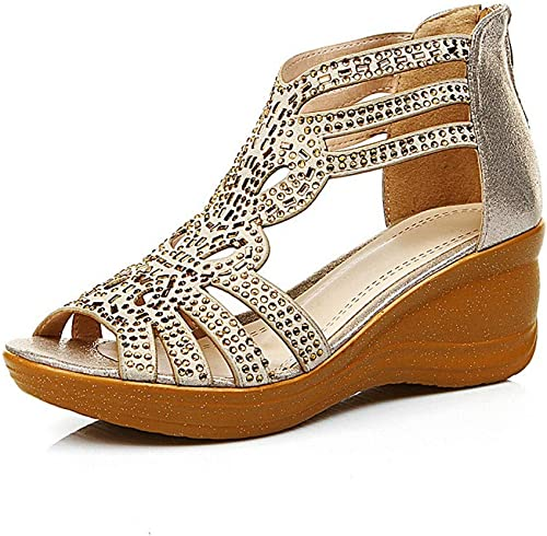Sandales pour Femmes, Sandales compensées pour Femmes d'été Bouche de Poisson Sexy Sandales compensées à Bout Ouvert avec Strass