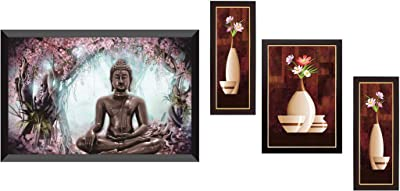 SAF Wood, Glass Figures, Religion, Abstract Wall Painting with Frame