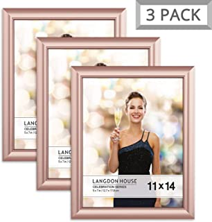 Langdon House 11x14 Picture Frame (3 Pack, Rose Gold), Rose Gold Photo Frame 11 x 14, Wall Mount or Table Top, Set of 3 Celebration Collection