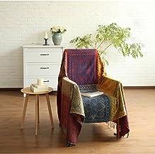 SHANNA Koc szenilowy, styl vintage, żakardowe frędzle, dwustronny koc patchworkowy, ciepły, dekoracyjny, do domu, biura, n...