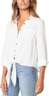 luvamia Women's Casual Long Sleeve Button Down T Shirts Tie Front Blouse Tops