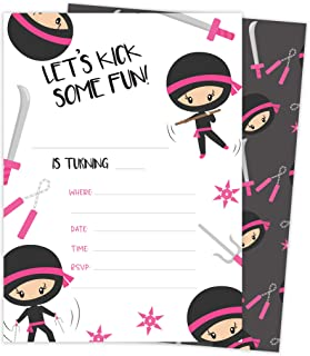 Ninja Girl 3 Happy Birthday Invitations Invite Cards (25 Count) With Envelopes and Seal Stickers Vinyl Girls Kids Party Ninja Girl 1 (25ct)