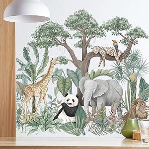 Cartoon Tropical Rainforest Animals Green Plants Wall Stickers, Jungle Giraffe Elephant Panda Lion Leopard Parrot Wall Decals, ZOXILEN DIY Zoo Art Decor for Kids Bedroom Nursery Living Room Home