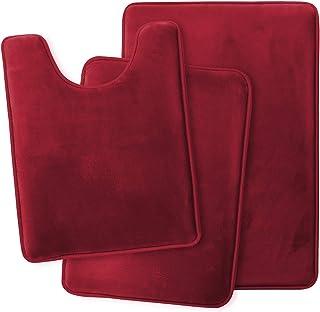 Clara Clark Memory Foam Bath Mat Ultra Soft Non Slip and Absorbent Bathroom Rug, Set of 3 - Small/Large/Contour, Burgundy Red, 3 Piece