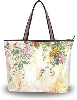 alaza Tote-Schulter-Tasche Aquarell-Blumen-Frühlings-Blumenhandtasche Große