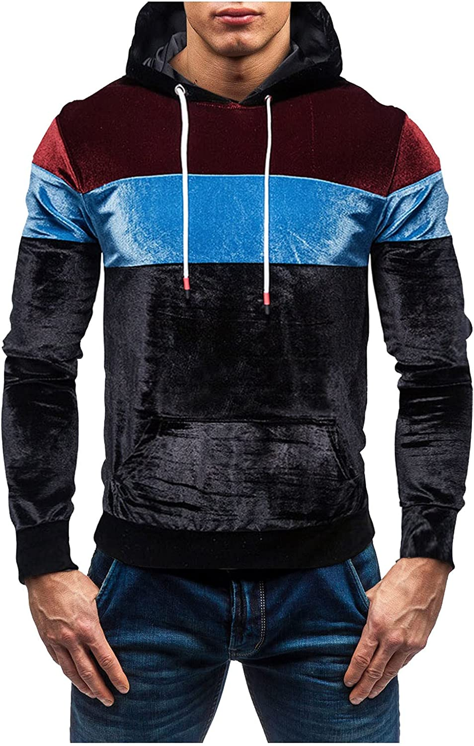 HONGJ Patchwork Hoodies for Mens, Fall Color Block Stitching Hooded Sweatshirts Slim Fit Workout Sports Pullover Tops