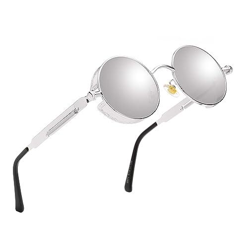 HatPanda Round Polarized Steampunk Sunglasses Retro Sunglasses For Men And Women