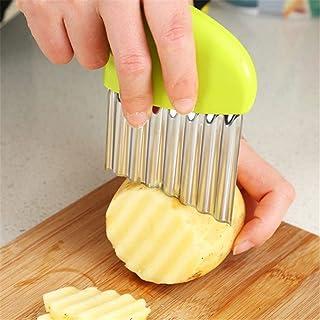 TaoNaisi Couteau Cuisine Outil de Coupe de Plis de Pomme de terre Légumes, Acier Inoxydable, Argent Barre Vert