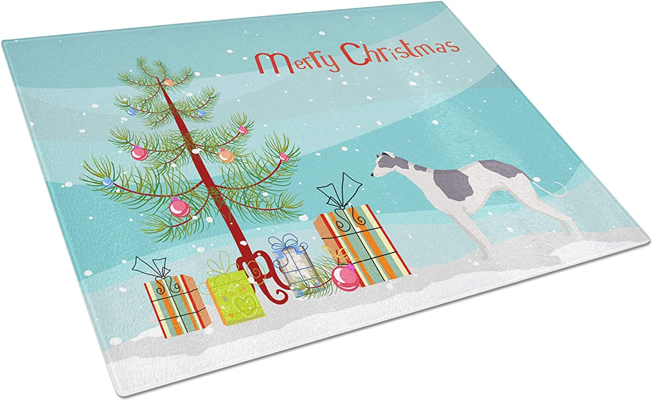 Caroline S Treasures CK3543LCB Greyhound Christmas Tree Glass Large Cutting Boards 12H X 16W Multicolor
