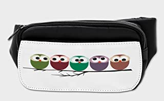 Lunarable Owl Bumbag, Big Eyed Birds Snuggling Funny, Fanny Pack Hip Waist Bag