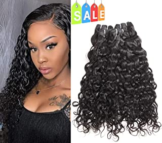 Sakula Brazilian Virgin Remy Water Natural Wave Curly Human Hair Extensions Bundles With 100 Unprocessed Human Hair Weft Weave Natural Black Color (22 24 26 Inch)