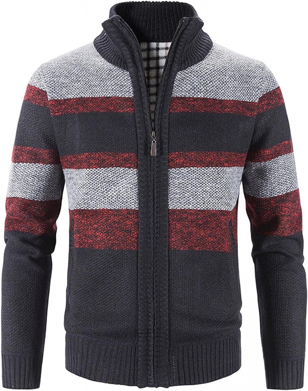 SUIQU Mens Knit Jacket Coat Autumn Winter Warm Cardigan Long Sleeve Stand Collar Zipper Color Block Print Outwear Coat