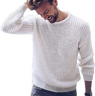 KEEPWO Men's Long Sleeve Grandad Collar Jumper Knitted Sweatshirt Pullover