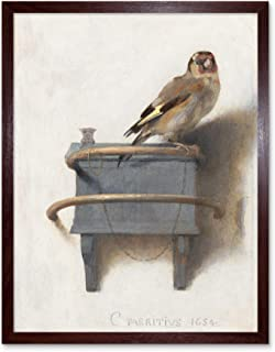 Fabritius The Goldfinch Bird Animal Nature Painting Art Print Framed Poster Wall Decor 12x16 inch