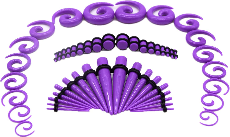 HuayoRong 54Pcs Ear Stretching Kit 14G-00G Acrylic Gauge Kit Spiral Tapers Tunnels Plugs Ear Stretching Starter Set Body Piercing Jewelry