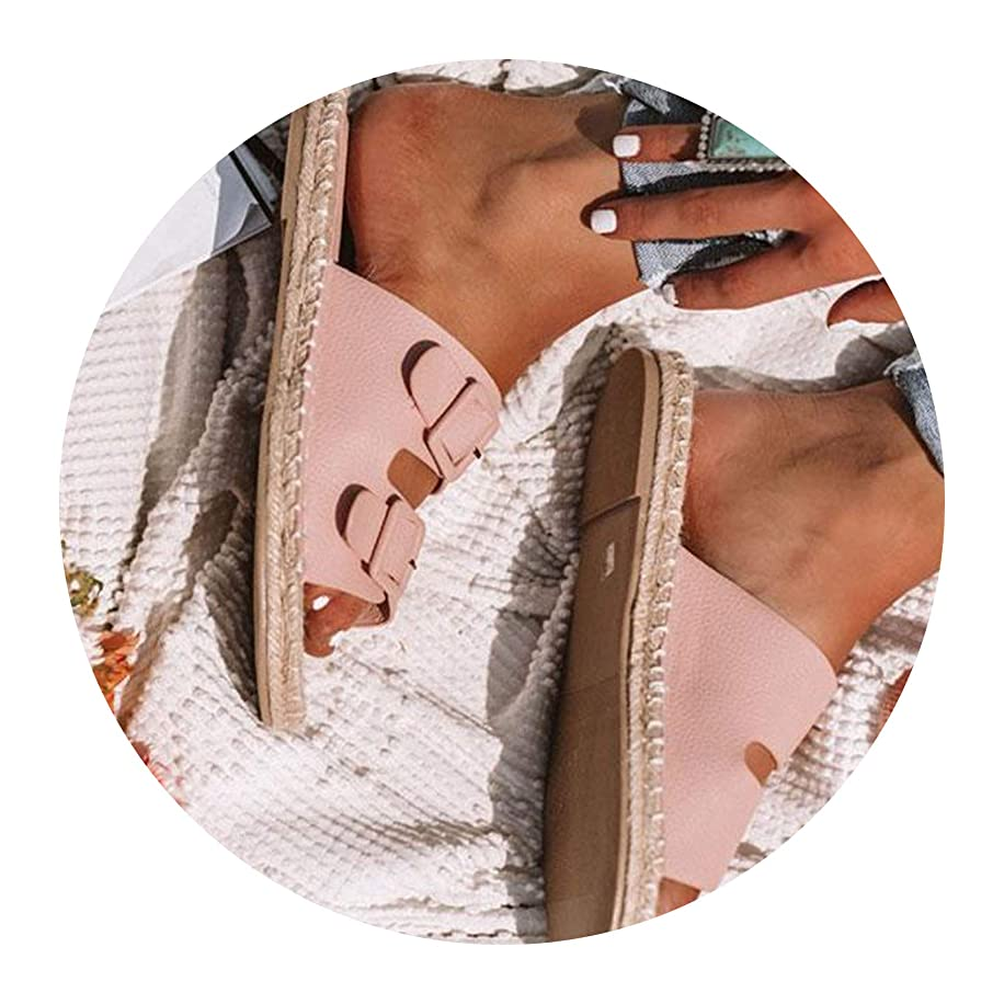 Stree Corner Summer Female Slippers Leather Buckle Belted Women Holiday Beach Sand Slides Sandals Flat