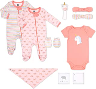 The Peanutshell Newborn Gift Set, 10 Piece Layette Set with Rattle and Bib in Boy, Girl, and Unisex Prints (Unicorn)
