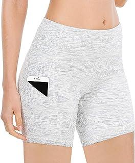 """QUEENIEKE Women 6"""" Inseam Power Flex High Waist 3-Pocket Running Shorts Workout Fitness(XL, White Grey Space Dye)"""