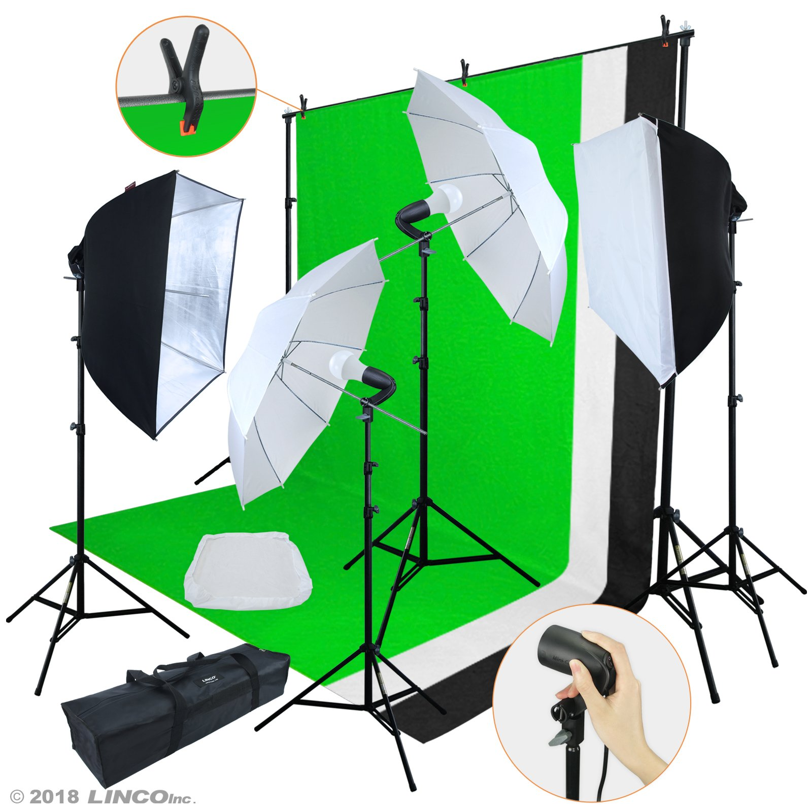 3 x Umbrella Light Kit 6.56ft x 6.56ft Background Support System with 3 Backdrops Safstar Photography Continuous Lighting Umbrellas Kits for Product Portrait and Video Shoot