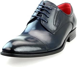 [ルシウス] ビジネスシューズ メンズ 革靴 本革 レザー レースアップシューズ ロングノーズ ドレスシューズ 外羽根 ストレートチップ サイドゴア 短靴 ローカット 春 靴 [LLT700-1-EPZ ] 黒 ブラック ブラウン ネイビー 赤 ワイン