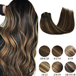 Labeh 100% Remy Human Hair Clip in Hair Extensions Double Weft Natural Black Ombre Hair Extensions Mixed Light Brown #6 Balayage Straight Hair Clip in Extensions (7pcs 120g 16inch)