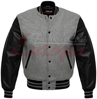 Fashion Club Men's Varsity Real Leather/Wool Letterman Jacket Grey W/Black Leather Sleeves (2XL Regular)