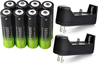 8 PCS 3.7V 18650 5800mAh Rechargeable High Performance Lithium ion Battery with 2 PCS Single Slot Smart Universal Battery Charger For High Power Handheld Flashlight Headlight Headlamp and Torch