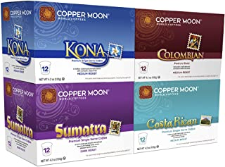 Copper Moon Coffee Single Serve Pods for Keurig 2.0 K-Cup Brewers, Around the World for Coffee Lovers Variety Pack (12 Kona Blend, 12 Sumatra Blend, 12 Costa Rican Blend, 12 Colombian Blend) 48 count